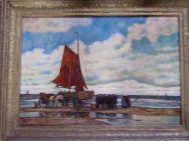 Ein wunderschönes altes Gemälde Krabbenfischer 18/19 Jahrhundert