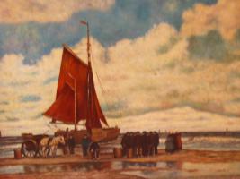 Foto 5 Ein wunderschönes altes Gemälde Krabbenfischer 18/19 Jahrhundert
