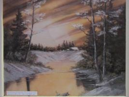 Eindrucksvolles Wintergemälde in Öl, Alaska