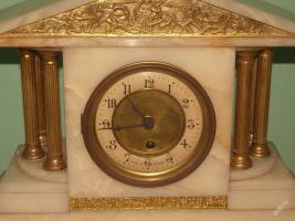 Foto 3 Einzigartig, dekoriert, figural Marmor - bronze Uhr - FRANCE 1900