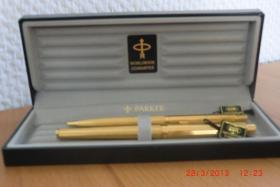 Etui Parker Füller und Kugelschreiber 22 Karat Gold unbenutzt
