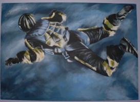 Fallschirmspringer über den Wolken