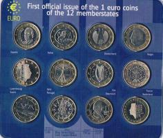 First official issue of the 1 euro coins of the 12 memberstates ! !