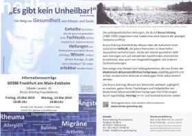 Frankfurt. Ist Gesundheit in der heutigen Zeit nur noch ein Traum? – ein Informationsvortrag
