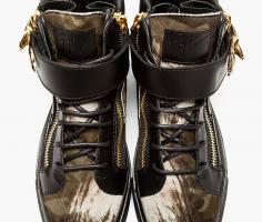 Foto 4 GIUSEPPE ZANOTTI Herren Sneaker Black Calf-Hair Eagle günstig billig gut