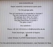 Garage Gate Repair assembly maintenance spare parts in Kaiserslautern to Ramstein