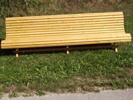 Foto 2 Gartenbank aus  Fichte /Kiefernholz fertig lasiert ca 275 cm lang SONDERPREIS