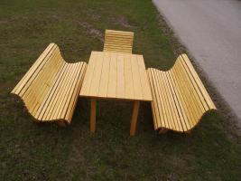 Foto 2 Gartengarnitur 4teilig aus Fichtenholz fertig lasiert