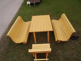 Foto 3 Gartengarnitur 4teilig aus Fichtenholz fertig lasiert