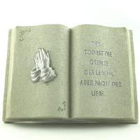 Foto 4 Gedenksteine Trauerbücher mit 4 verschiedenen Inschriften. Gedenkbuch mit Trauer Zitat