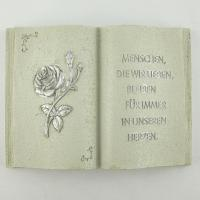Foto 8 Gedenksteine Trauerbücher mit 4 verschiedenen Inschriften. Gedenkbuch mit Trauer Zitat