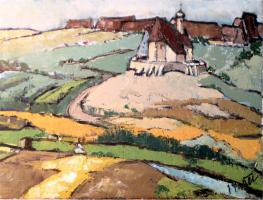 Gemälde Hopfenlandschaft bei Spalt