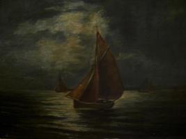 Gemälde in Öl auf Leinwand - ''Segelschiff auf Nachtfahrt''