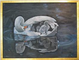 Gemälde Schwanenmutti