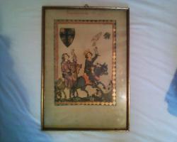 Foto 3 Gerahmte Bilderseiten aus dem Codex Manesse
