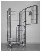 Foto 2 Gitter Rollcontainer mit 2 drehenden Türen für Wäschelogistik (Wäschereien, Krankenhäusern, Hotels u.a.).