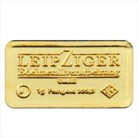 Goldbarren 1 g Gramm LEV Leipziger Edelmetallverarbeitung Feingold 999.9