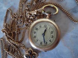 Foto 2 Goldene Taschenuhr 585 Gold (kleine Damenuhr mit langer Kette)