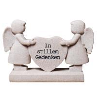 Grabdeko Engelpaar mit Herz In stillem Gedenken.