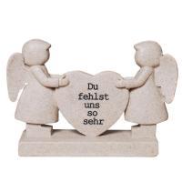 Grabherz mit Engel Figuren, Inschrift Du fehlst uns so sehr, Trauerschmuck zum Gedenken