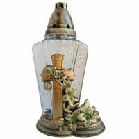 stilvolles Grablicht mit Kerze 29 Stunden Brenndauer