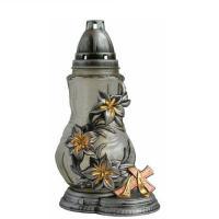 Trauerlicht aus Glas, Sockel, Deckel, Kreuz und Blumenranken