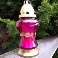 pinkfarbene Grablampe mit Gold Verzierung
