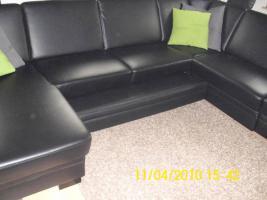 gro e ledercouch in rastatt u form bettfunktion schwarz lederimitat. Black Bedroom Furniture Sets. Home Design Ideas