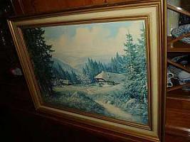 Großes Gemälde mit Echtholzrahmen