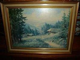 Foto 2 Großes Gemälde mit Echtholzrahmen