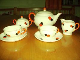Foto 2 HARLEKIN Keramik Teeservice ''''Tee for two '''' ate Sammlerstücke