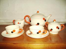 Foto 3 HARLEKIN Keramik Teeservice ''''Tee for two '''' ate Sammlerstücke