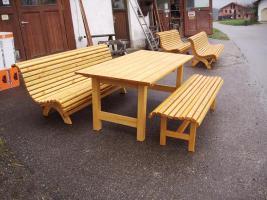 Foto 12 Hausbank  Gartenbank aus Fichtenholz fertig lasiert ca 1,5 m