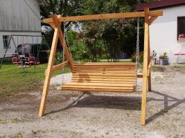 Foto 13 Hausbank  Gartenbank aus Fichtenholz fertig lasiert ca 1,5 m