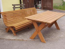 Foto 14 Hausbank  Gartenbank aus Fichtenholz fertig lasiert ca 2,0m