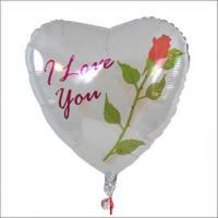 Herzballon weiß – I love you mit roter Rose – Wallamtax.de