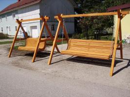Foto 2 Hollywoodschaukel Gartenschaukel 3 Sitzer Massivholz