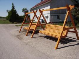 Foto 3 Hollywoodschaukel Gartenschaukel 3 Sitzer Massivholz