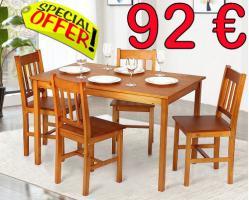 Holz-Eßtisch-Gruppe 1 Tisch 4 Stühle nur 92€ komplett