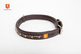 Horsecode Hundehalsband Soleste Shine 40cm,50cm,60cm- Lederhalsband mit  Strass