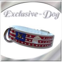 Hundehalsband American Flagge Strass Leder Halsband ''EXCLUSIVE-DOG''