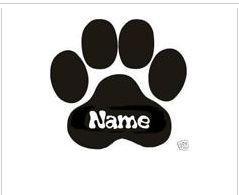 Hundepfote mit Namen Autoaufkleber