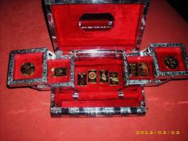 Foto 2 Indische Schatulle mit 24 Karat Vergoldeter Sammlung