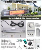 Foto 4 Infrarot Heizstrahler für Bad, Terrasse, Balkon. Noch sind die Sommerpreise aktuell.