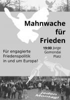 Jeden Montag für Menschlichkeit und Nahhaltigkeit einstehen! Mahnwache für Frieden Dresden