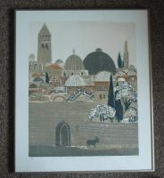 ''Jerusalem Altstadt'' Farbholzschnitt von Andreas Felger 1981