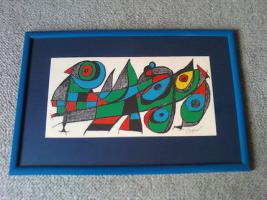 Joan Miró: Original-Farblithographie, gerahmt, im Druck signiert