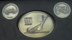 John Deere 175 Jahre Box 1 Gürtelschnalle 2 Münzen Fest Edition