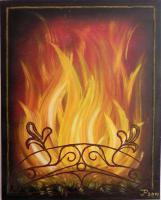 Kaminfeuer Ölgemälde von Irmela Pinkwart
