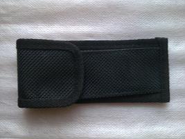 Klappmesser / Jagdmesser / Einhandmesser silbern und Wurzelholzgriff mit Etuis aus Nylon